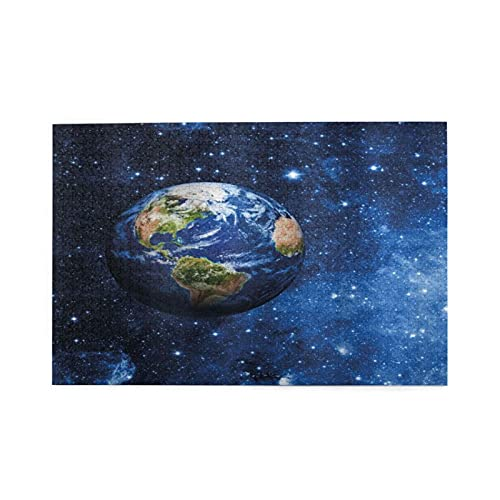 jigsaw puzzles 1000 pieces for adults Space Outer View Of Planet Earth In Solar System With Stars Life On Globe Themed Image Puzzle For Boys Girls Seniors Gifts