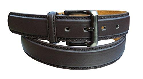 Ceinture de pantalon en cuir pour homme élégante et unie Fabriqué par Forest Belt Co Noir Marron Jusqu'à 142,2 cm - Marron - Small