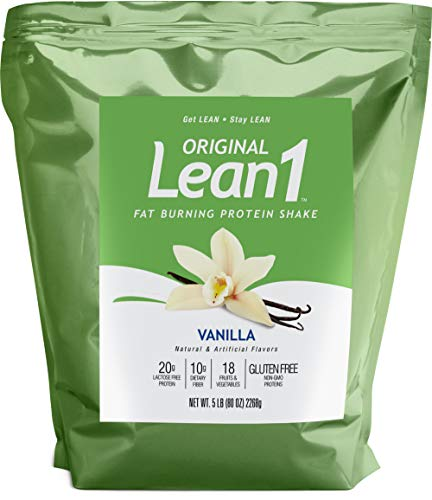 Lean1 Vanilla 5 Pound (44 Servings), Fat Burning Meal Replacement