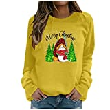 NHNKB Camiseta de manga larga para mujer, de Navidad, cuello redondo, a rayas, informal, básica, blusa, amarillo, XXL