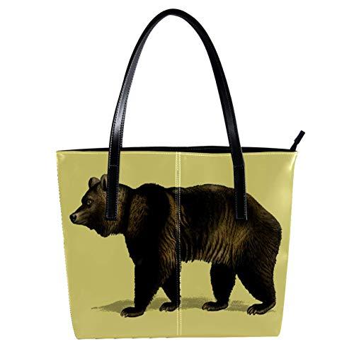 LORVIES Brown Bear PU Leder Schultertasche und Handtaschen für Damen