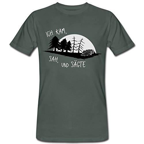 Ich Kam SAH Und Sägte Holzfäller Forstwirt Spruch Männer Bio-T-Shirt, L, Dunkelgrau