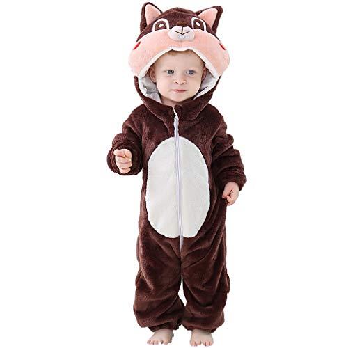 MRULIC Neugeborenes Baby Jumpsuit Outfit Dinosaurier Reißverschluss mit Kapuze Spielanzug Overall Outfit Kleidung Niedlicher Babyschlafsack Onesies Herbst und Wintermodelle(A-Grau,85-90CM)