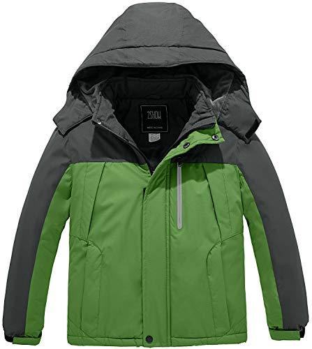 ZSHOW Boy's Waterproof Ski Jacket Thick Winter Fleece Lined Parka Coat(Grey+Green,6-7)