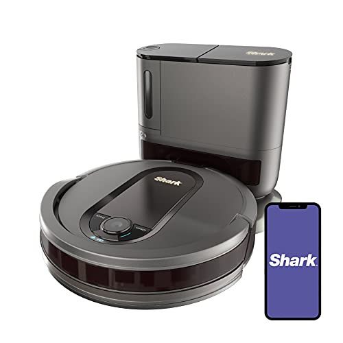 Shark AV911S EZ Robot Vacuum with Self-Empty Base, Bagless, Row-by-Row Cleaning, Perfect for Pet Hair, Compatible with Alexa, Wi-Fi, Gray