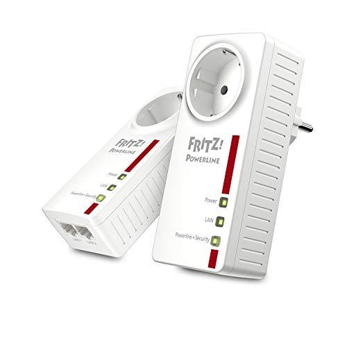 AVM FRITZ!Powerline 1220E Set (1,200 MBit/s, 2x Gigabit-LAN je Adapter, ideal für NAS-Anwendungen und HD-Streaming) internationale Version, weiß