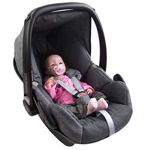 BAMBINIWELT Ersatzbezug für Maxi-Cosi PEBBLE 5-tlg, Bezug für Babyschale, Komplett-Set GRAU/DUNKELGRAU XX