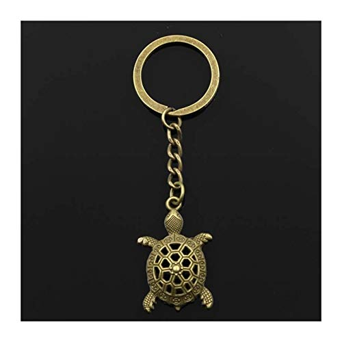 LUOSI 30mm Key Ring Metal Key Chain Keychain Antique Bronze Silver Color Hollow Tortoise Turtle Sea 38x25mm Pendant (Color : Bronze)