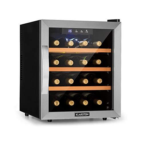 KLARSTEIN Reserva 16 - Cantinetta Vino, Frigorifero Termoelettrico Bevande, Classe Energetica B, 34 dB, 1 Zona, 48 L, 16 Bottiglie, 11-18 °C, Vetro Frontale con Telaio in Acciaio Inox, Nero Lucido