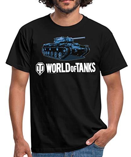 Spreadshirt World of Tanks Char Bleu T-Shirt Homme, S, Noir
