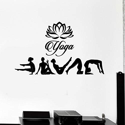 WERWN Tatuajes de Pared de Estudio de Yoga posando Loto hinduismo Sala de meditación decoración de Interiores Puertas y Ventanas Pegatinas de Vinilo Papel Tapiz Creativo