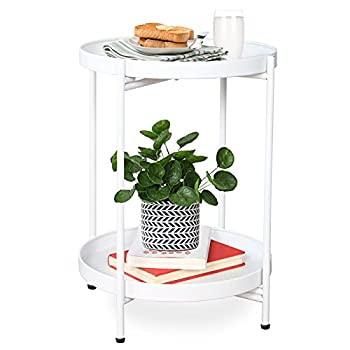 """FUNME White Folding End Table 2-Tier Metal Round Side Table with Removable Tray for Living Room 15.2""""Dx20""""H"""