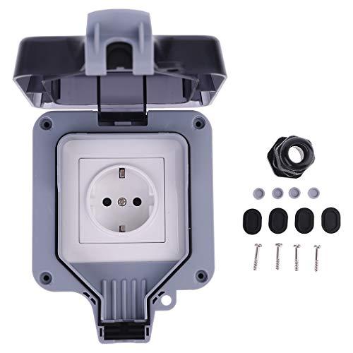 SUCHUANGUANG Enchufe para Interruptor de Pared Exterior, Toma de Corriente a Prueba de Polvo y Clima IP66, Enchufe para Interruptor de Pared estándar de la UE