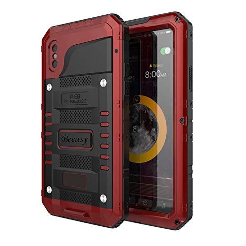 Beeasy Hülle Kompatibel mit iPhone XS/X, Outdoor Wasserdicht Stoßfest Handy Hülle Militärstandard Schutzhülle mit Bildschirmschutz Waterproof Metall Schutz vor Stürzen Stößen Heavy Duty Handyhülle, Rot