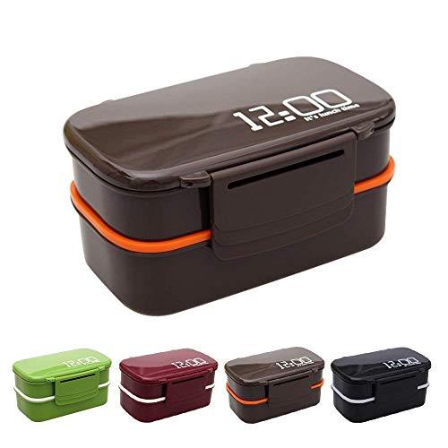 Boîte à lunch - 2 compartiments et couverts - Micro-ondes, lave-vaisselle.Idéal for adultes ou enfants, hommes ou femmes (Color : Brown)