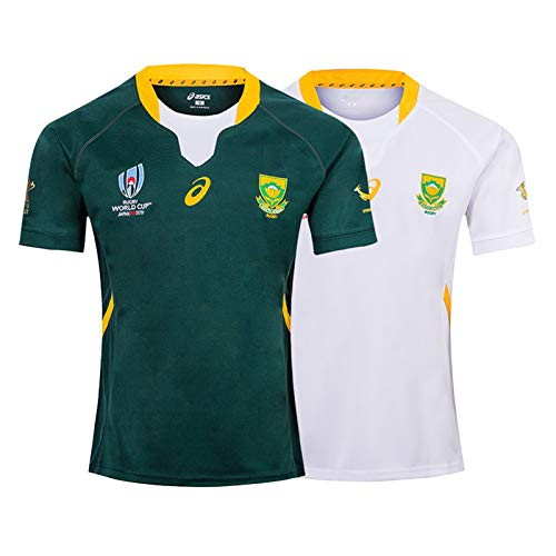 DIWEI 2019 Weltmeisterschaft Südafrika Heim- / Auswärts-Rugby-Trikot, Weiße Und Grüne Stickerei Sport Atmungsaktives Lässiges T-Shirt Fußballhemd Poloshirt Green-L