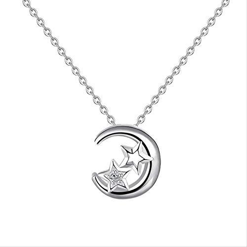 Xianglsp Co.,ltd Collar S925 Plata Simple Star Moon Set Cadena Mujer Simple Set Collar De Estudiante