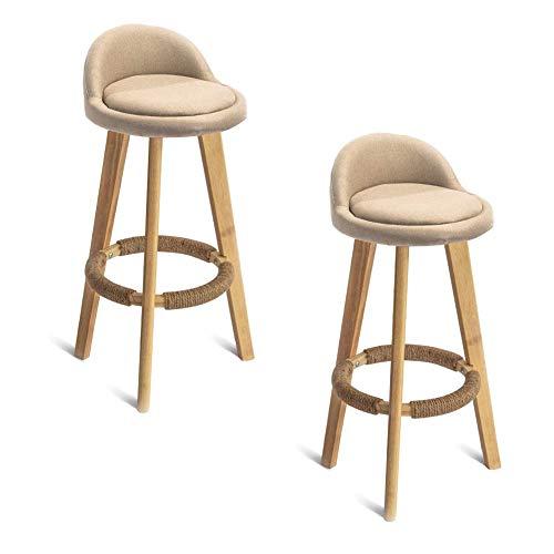 Barkruk 2-delige set, barkruk van massief eikenhout, met rugleuning en voetensteun, hoge en gevoerde stoel (zithoogte 70 cm) max. Draagvermogen: 100 kg.