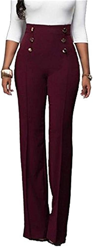HuiSiFang Women's Casual Stretchy High Waisted Button Down Wide Leg Long Pants