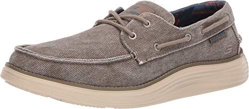 Skechers mens Status 2.0- Lorano Moc Toe Canvas Deck Shoe Oxford, Taupe, 10.5 US
