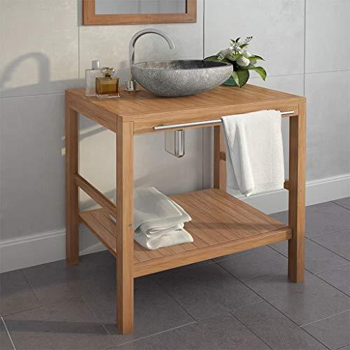 Waschbeckenunterschrank, Badschrank aus Teak Massiv, Waschbeckenschrank mit Flussstein Waschbecken, 74 x 45 x 75 cm