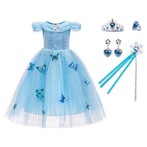 AISHNA Little Girls Princess Dress Costume for Christmas Birthday Halloween Party Dress up (Blue, 110CM(4-5T))