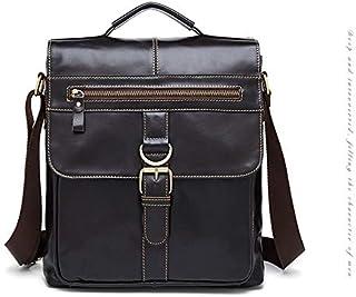 FYXKGLan Men's Genuine Leather Vintage Male Single-Shoulder Flip Bag (Color : Deep Coffee)