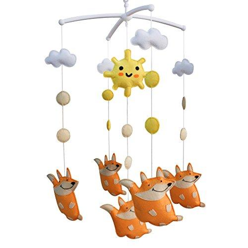 Fait à la main Crib Mobile musical, [Bonne Fox],Jouets musicaux pour nourrissons