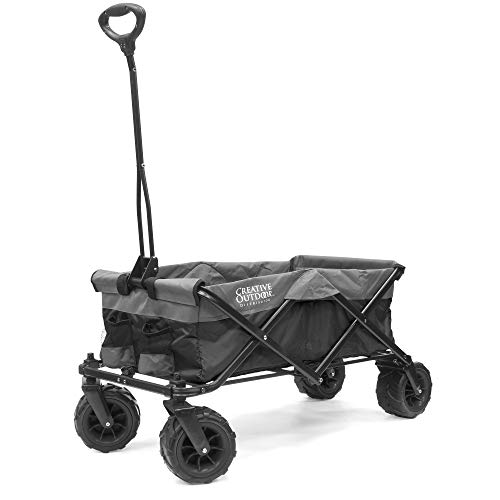 Creative Outdoor Distributor 920057 Platinum Series All-Terrain Collapsible Folding Wagon Cart for Kids, Black