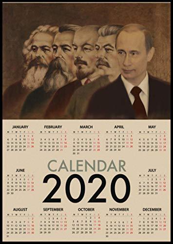 lubenwei World War II Russian Comrade Joseph Stalin Leninist Politician Soviet Union USSR CCCP 2020 Calendar Retro Poster Room Decor 40x60cm No frame AT-3656