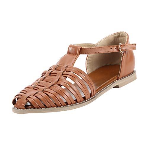 JJLIKER Womens Hollow Woven Closed Toe Flats Sandals T-Shape Adjustable Ankle Strap Buckle Sandals Rubber Outsole Shoes