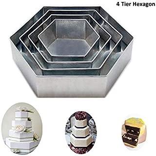 4 Tier Hexagon Multilayer Birthday Wedding Anniversary Cake Tins / Pans 6