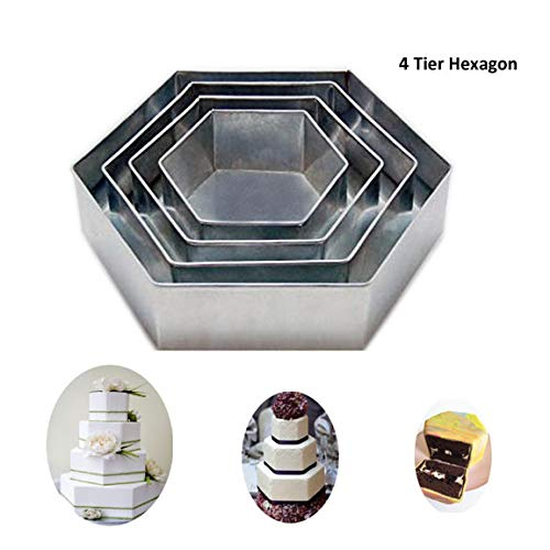 "4 Tier Hexagon Multilayer Birthday Wedding Anniversary Cake Tins / Pans 6"" 8"" 10"" 12"""