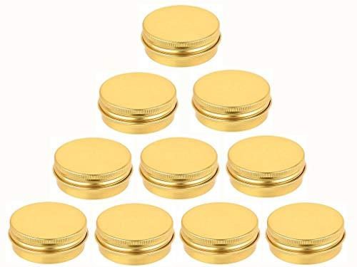 JKLcom Golden Metal Tin 10Pack,Round Screw Top Flat Metal Tin Container Metal Steel Tin Jars (1 OZ)