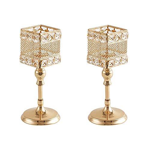 Haucy 2 Pcs Kristall Kerzenständer, Gold Kerzenbecher zum Deko Wohnzimmer Teelichthalter Gold für Hochzeit Feier Dekor Bar Party Dekoration, 13x37 cm