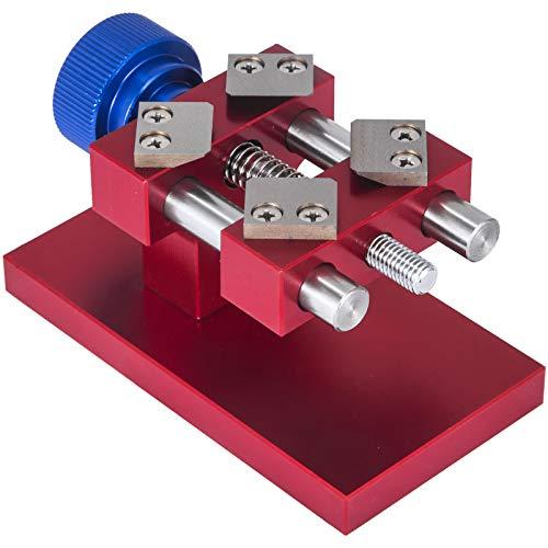 VEVOR 5700 Tisch Uhrenöffner 19 mm - 52 mm Uhrengehäuse, Uhrengehäuseöffner Rostfreier Stahl, Uhren Öffner Werkzeug Set 4 Klingen, Reparatur Uhrwerkzeug - Holzbasis 11,9 x 6,3 x 6,9 cm, Uhrmacher