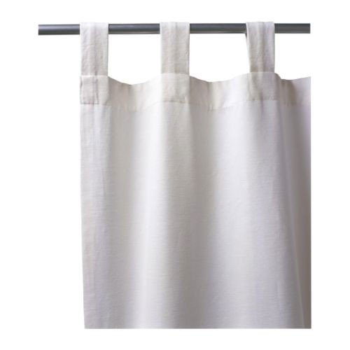 Ikea Lenda - Juego de 2 cortinas con alzapaños (140x300 cm), color blanco