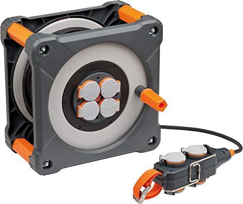 Brennenstuhl professionalLINE Kabeltrommel mit Powerblock (33 m - Kunststoff, dauerhafen Einsatz im Außenbereich IP44, Made In Germany) Grau, Orange