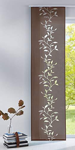 Gardinenbox Moderner Flächenvorhang Raumtrenner Schiebegardine Tendril aus hochwertigem Ausbrenner-Stoff mit Paneelwagen, 245x60 (HxB), Braun, 85611