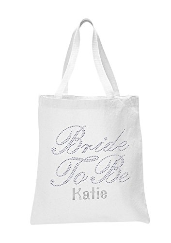 CrystalsRus White BRIDE TO BE Personalised Bridal Bride's Tote bag Luxury Storage Girl's Shoe hen party gift bag By Varsany