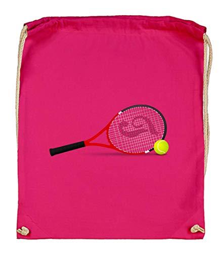 Druckerlebnis24 - Bolsa de tela para raquetas de tenis, pelotas de tenis, algodón orgánico, color rosa, tamaño talla única