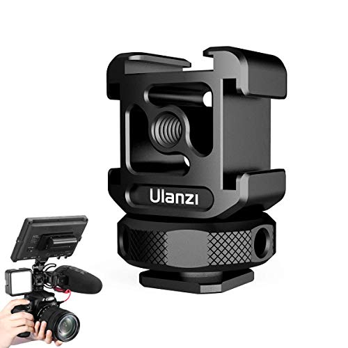 ULANZI PT-12 Camera Hot Shoe Extension Bracket with Triple Cold Shoe Mounts for Microphone LED Video Light, 1/4'' Screw for Magic Arm, Aluminum Shoe Mount Compatible with Nikon Canon Sony Cameras