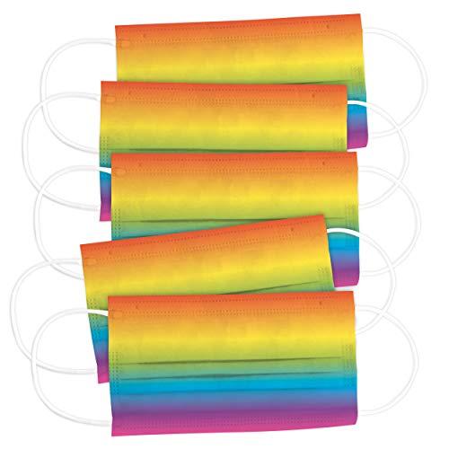 CRAZE 5er Set bunte Mundmaske für Erwachsene Einwegmaske Motiv Gesichtsmaske 3-lagig Maske Gesicht und Nase Airbrush Rainbow 32107