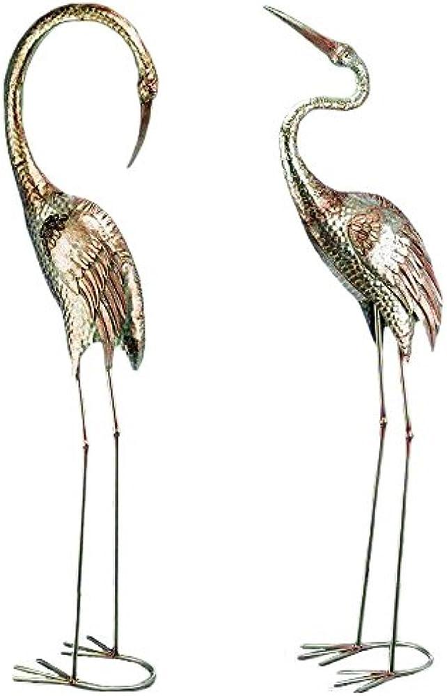 Casajame decorazione, statue da giardino 2 uccelli gru, in metalllo, 129 cm