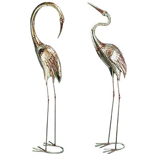 CasaJame 2 Figuren Set für den Garten Teich aus Metall groß wetterfest, Vogel Kranich in Silber, Deko Eisen, 129cm