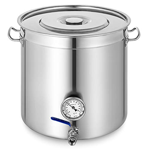 Mophorn Kettle Stockpot Stainless Steel 45Gal with Lid and Thermometer for Home Brew and Stock Pot Cookware 180 Quart