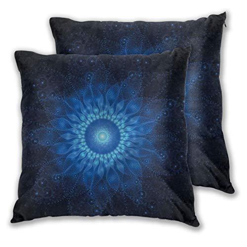NUXIANY Juego 2 Fundas Cojines Hogar Arte de Mandala Espacial Decorativa Almohadas Fundas de para Sala de Estar sofás 60x60cm