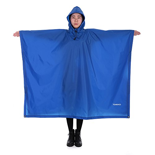 TOMSHOO Multifunctional Lightweight Raincoat with Hood Hiking Cycling Rain Cover Poncho Rain Coat Outdoor Camping Tent Mat