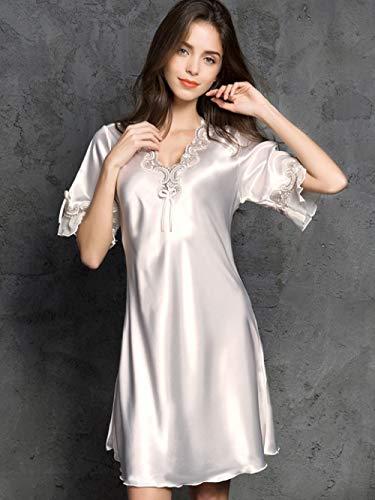 HUANSUN Verano camisón lencería para Mujer satén señoras Ropa de Dormir Seda Media Manga Bordado camisón Camisones, Rosa Polvoriento, l