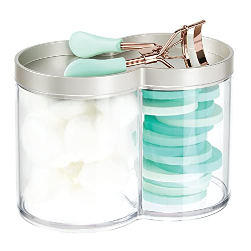 mDesign Plastic Bathroom Vanity Countertop Canister Jar with Storage Lid - Stackable - Divided, Double Compartment Organizer for Cotton Balls, Swabs, Makeup Blenders, Bath Salts - Clear/Satin